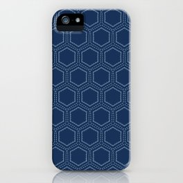 Indigo blue hexagon sashiko style japanese embroidery pattern. iPhone Case