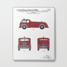 Firetruck Patent Metal Print