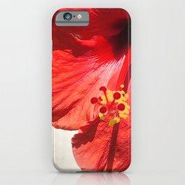 Bright Red Hibiscus Flower Close-Up iPhone Case