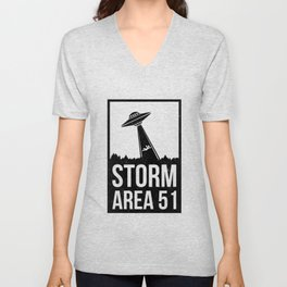 Storm Area 51 Funny Alien Abduction UFO Conspiracy Believe Apparel Unisex V-Neck