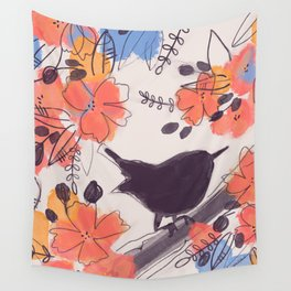 Wren in Summer Coral Blossoms Wall Tapestry