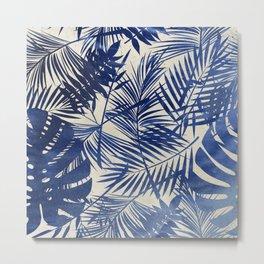 Cobalt Blue Tropical Leaf Pattern Metal Print