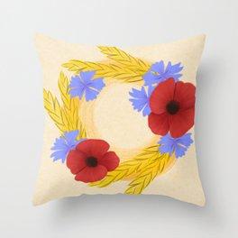 Harvest Wreath Slavic Custom Folk Art Throw Pillow