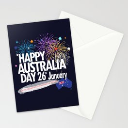 Happy Australia Day 26th January inscription poster with Australian Flag, Australia Map, stars and fireworks. Funny Australia, Patriotic National Holiday Festive Poster for gifts and clothing design. Festival Event decoration. T-Shirt Stationery Cards