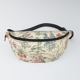 Vintage Floral Drawings // Fleurs by Adolphe Millot XL 19th Century Science Textbook Artwork Fanny Pack