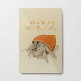 Crab at home in a seashell Metal Print