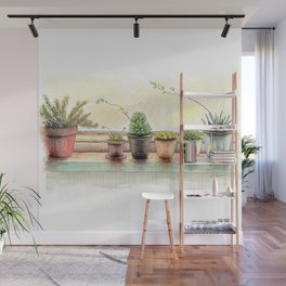 Succulents on a Window Sill Wall Mural