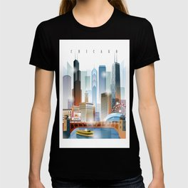 Chicago city skyline painting T-shirt