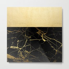 Gold and Black Marble Metal Print
