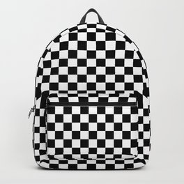 Classic Black and White Race Check Checkered Geometric Win Backpack