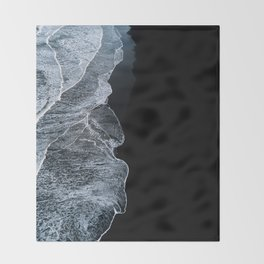 Waves on a black sand beach in iceland - minimalist Landscape Photography Throw Blanket