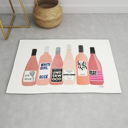 Rose Wine Bottles Rug