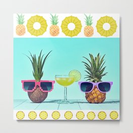 Summer Funny Pineapple  Metal Print