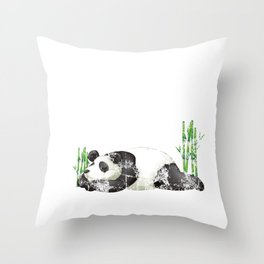Funny Nope Not Today Lazy Sleepy Panda Distressed Throw Pillow