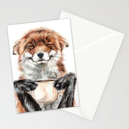 """"""" Morning fox """" Red fox with her morning coffee Stationery Cards"""