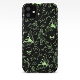 Cryptid Pattern: Green Lines iPhone Case