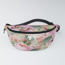 Vintage & Shabby Chic -Blush Pink Botanical Spring Roses Garden  Fanny Pack