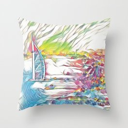 Jumeirah beach view with 7 star hotel Picasso Throw Pillow