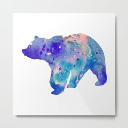 Bear Art Colorful Blue Purple Watercolor Art Gift Animals Lovers Gift Nature Gift Forests Art Metal Print