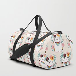 Japanese Lucky Cat with Cherry Blossoms Duffle Bag