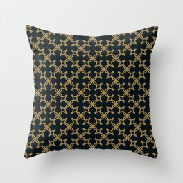 Ornate Yellow & Black Geometric Four Leaf Clover Shields Throw Pillow
