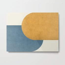 Halfmoon Colorblock - Gold Blue Metal Print