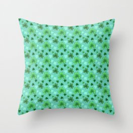 Lucky Clover Pattern Teal and Green Throw Pillow