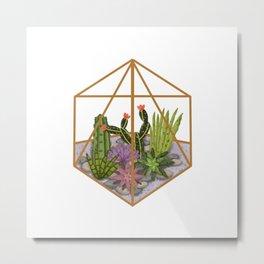 Succulents in Geometric Planter Metal Print