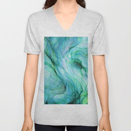 Sea Green Flowing Waves Abstract Ink Painting Unisex V-Neck