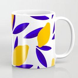 Blue and yellow Lemon Summery Pattern Coffee Mug