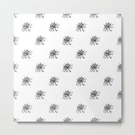 Black and White Floral Print Pattern Metal Print