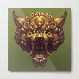 Foo Wolf Olive Green Metal Print