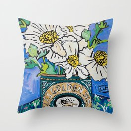 Matilija Fried Egg Flower Bouquet in Lyle's Golden Syrup Tin on Blue Gouache Still Life Painting Throw Pillow