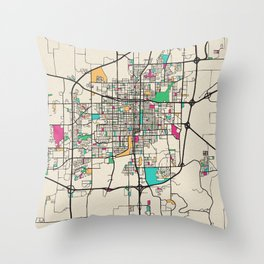 Colorful City Maps: Springfield, Illinois Throw Pillow