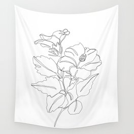 Floral one line drawing - Hibiscus Wall Tapestry