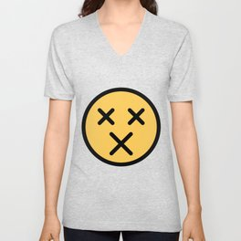 Smiley Face   X Crossed Out Mouth And Eyes Unisex V-Neck