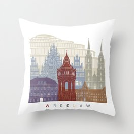 Wroclaw skyline poster Throw Pillow