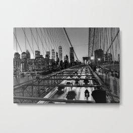 Crossing the Brooklyn Bridge Metal Print