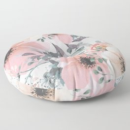 Abstract Watercolor, Blush Pink and Peach, Floral Watercolor Print Floor Pillow