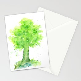 Watercolor Spring Oak Tree Stationery Cards