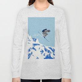 Airborn Skier Flying Down the Ski Slopes Long Sleeve T-shirt