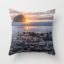 Haystack Rock, Cape Kiwanda, Pacific City at Sunset Throw Pillow