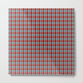 Maroon and Teal Christmas Plaid Metal Print