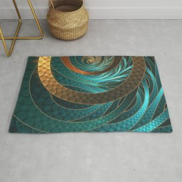 Beautiful Corded Leather Turquoise Fractal Bangles Rug