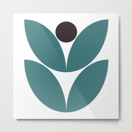 Teal Modern Flower Metal Print