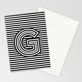 Track - Letter G - Black and White Stationery Cards