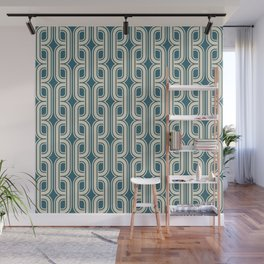 Vintage tangled squares and diamonds pattern teal Wall Mural