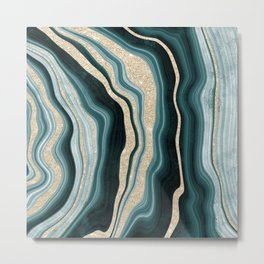 Modern agate geode turquoise champagne glitter marble pattern Metal Print