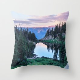 Hikers Bliss Perfect Scenic Nature View \ Mountain Lake Sunset Beautiful Backpacking Landscape Photo Throw Pillow