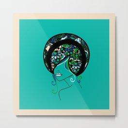 Floral Silhouette Metal Print